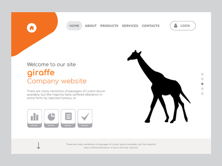 Quality One Page giraffe Website Template Vector Eps, Modern Web Design with flat UI elements and landscape illustration, ideal for landing page