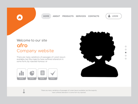 Quality One Page afro Website Template Vector Eps, Modern Web Design with flat UI elements and landscape illustration, ideal for landing page