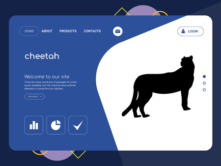 Quality One Page cheetah Website Template Vector Eps, Modern Web Design with flat UI elements and landscape illustration, ideal for landing page