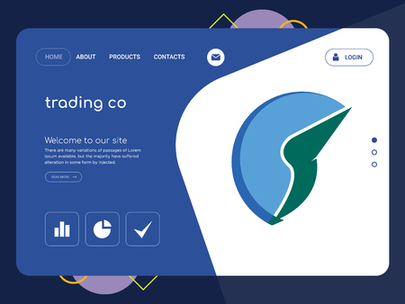 Quality One Page trading co Website Template Vector Eps, Modern Web Design with flat UI elements and landscape illustration, ideal for landing page