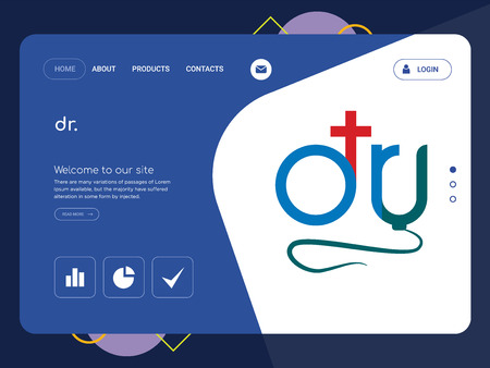 Quality One Page dr. Website Template Vector Eps, Modern Web Design with flat UI elements and landscape illustration, ideal for landing page