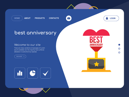 Quality One Page best anniversary Website Template Vector Eps, Modern Web Design with flat UI elements and landscape illustration, ideal for landing page