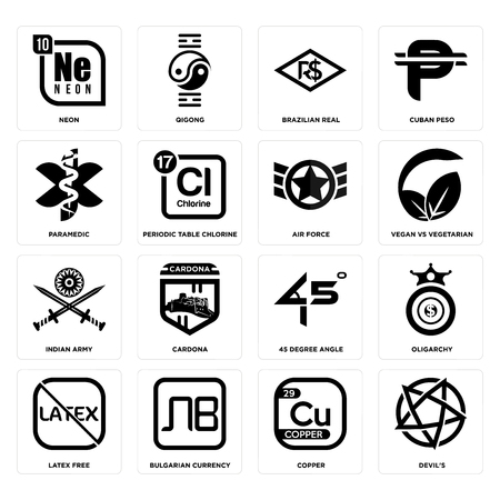 Set Of 16 simple editable icons such as devil's, copper, bulgarian currency, latex free, oligarchy, neon, paramedic, indian army, air force can be used for mobile, web UI