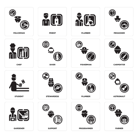 Set Of 16 Simple Editable Icons Such As Farmer Programmer