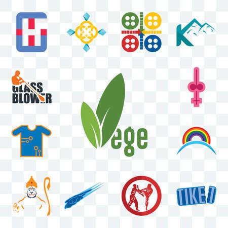 Illustration pour Set Of 13 transparent editable icons such as vege, tiket, krav maga, peregrine falcon, hanuman, rainbow, teechip, shemale, glass blower, web ui icon pack - image libre de droit