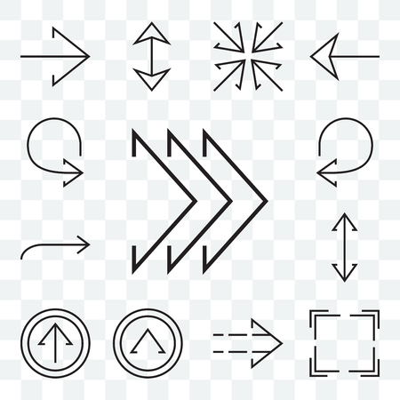 Set Of 13 transparent editable icons such as Right chevron