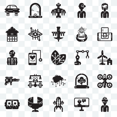 Set Of 25 transparent icons such as Vr glasses, Eolic energy, Smartphone, Egg incubator, Bionic contact lens, Tree, Robot, web UI transparency icon pack, pixel perfect
