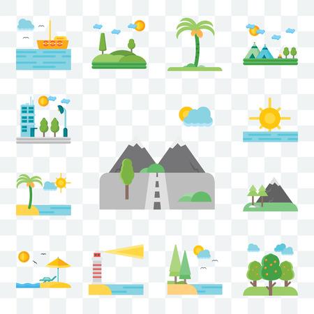 Illustration pour Set Of 13 transparent editable icons such as Mountains, Trees, Lake, Lighthouse, Beach, Sunrise, Flat, web ui icon pack - image libre de droit