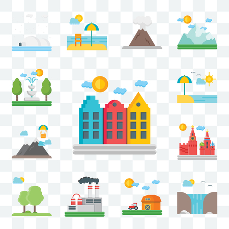 Set Of 13 transparent editable icons such as Amsterdam, Waterfall, Barn, Factory, Trees, Moscow, Mountains, Beach, Fountain, web ui icon packのイラスト素材
