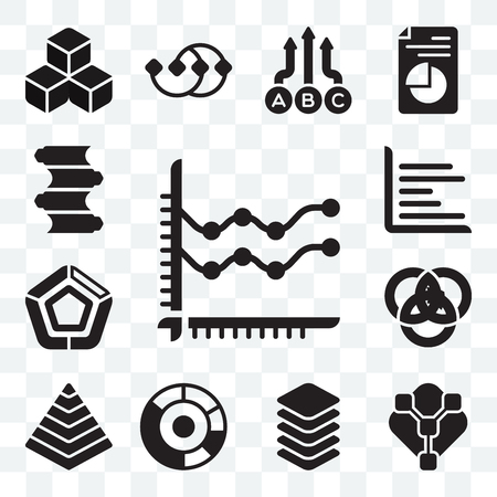 Set Of 13 Transparent Icons Such As Line Chart Pie Chart