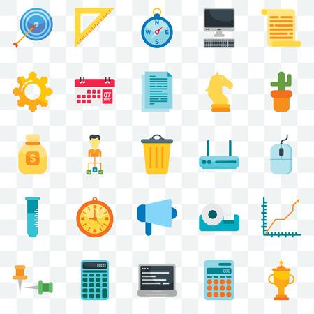 Illustration pour Set Of 25 transparent icons such as Trophy, Calculator, Laptop, Push pins, Cactus, Router, Megaphone, Flask, Cogwheel, Compass, Ruler, web UI transparency icon pack - image libre de droit