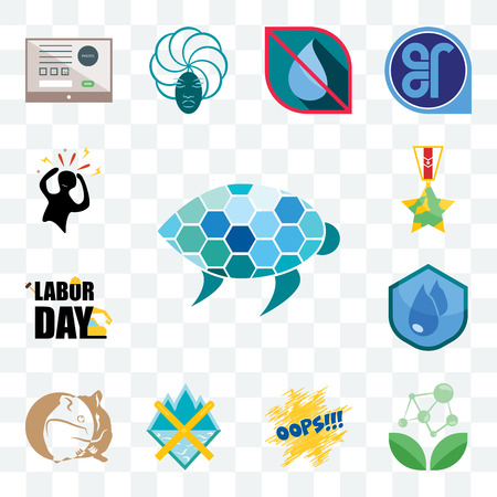 Illustration pour Set Of 13 transparent editable icons such as sea turtle, antioxidant, oops, crossed skis, hamster, water resistant, labor day, veteran, panic, web ui icon pack - image libre de droit