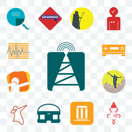 Set Of 13 transparent editable icons such as cell tower, ganesh, municipality, vr headset, dab, hiker, set top box, tracker, web ui icon pack