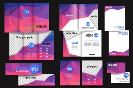 Ilustración de Set of corporate business stationery templates. Abstract brochure design. Modern back and front flyer backgrounds.  - Imagen libre de derechos