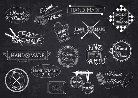 Illustration pour Set of hand made labels, badges and logos for design over blackboard. Vector illustration. - image libre de droit
