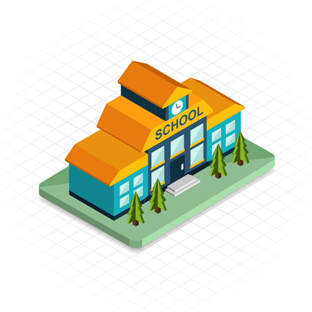 School building. Isometric 3d pixel design icon. Modern flat design. Vector illustration for web banners and website infographics.
