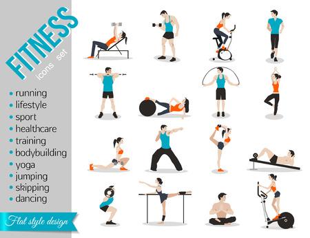 Ilustración de Training people icons set for sport and fitness infographics. Flat style design. Vector illustration. - Imagen libre de derechos