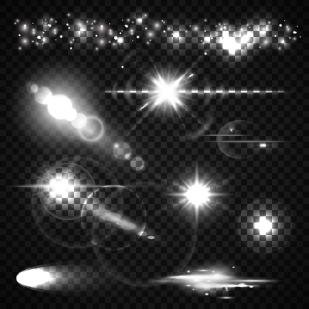 Set of Light effects, spotlights, flash, stars and particles for your design. Vector illustration