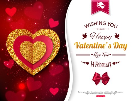 Illustration for Valentines Day background with gold and red hearts. Valentines Day party invitation. Valentines Day poster,  for promotions. Cupid and Magic Love. illustration. - Royalty Free Image