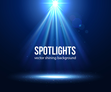 Ilustración de Vector scene illuminated spotlight. Dark spotlight. Stage spotlight. Spotlight background vector. Spotlight effect scene background. Show scene spotlight. Spotlight on stage. lighting effects vector. - Imagen libre de derechos