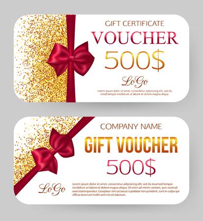 Illustration pour Gift voucher template. Golden design for gift certificate coupon. Golden dust. 500$ off. Card and envelope - image libre de droit