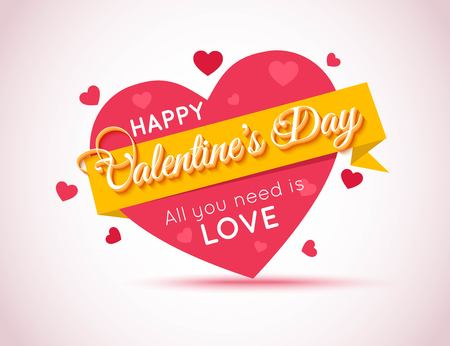 Illustration pour Happy Valentines Day Flyer. Template for creating Advertising Banner, Brochure, Booklet, Poster, Sale leaflet, Sale Flyers Discount. Be My Valentine. Love You. Love Background. All You Need is Love - image libre de droit