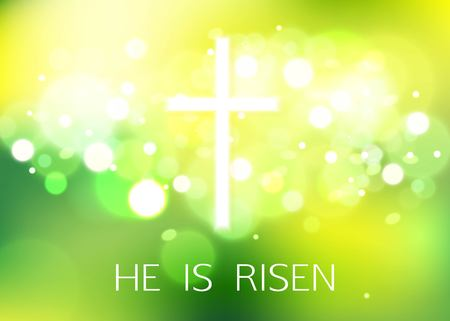 Illustration pour Hi is Risen. Happy Easter Green Background with bokeh and white cross. Vector Illustration. - image libre de droit
