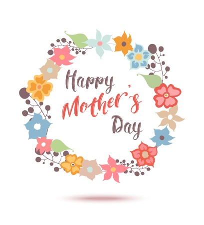 Illustration for Happy Mothers Day flowers greeting card. Vector illustrator. - Royalty Free Image