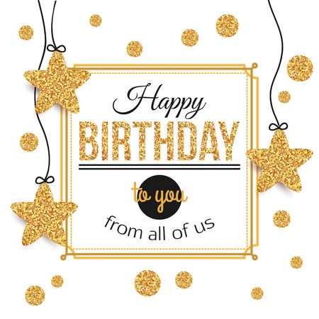 Ilustración de Birthday background with gold stars, polka dots. Birthday - gold text.Happy Birthday template for banner, flyer, brochure, gift certificate, party invitation. Birthday card. Vector illustration. - Imagen libre de derechos