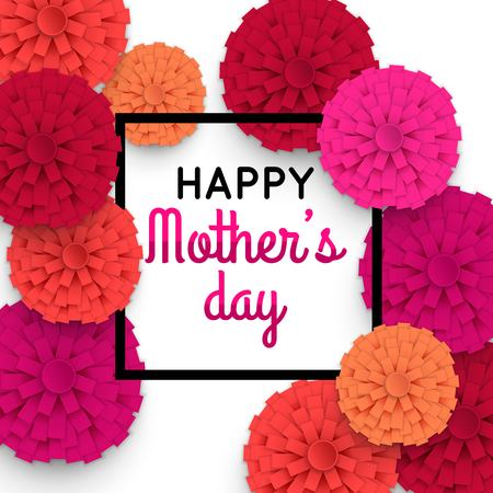 Illustration for Happy Mothers Day floral greeting card. Mothers Day bacground with paper flowers. Vector illustrator. - Royalty Free Image