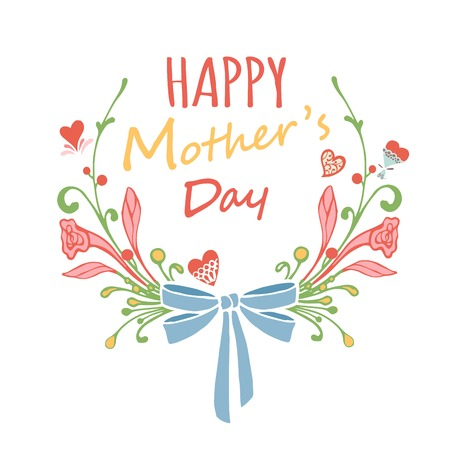 Illustration for Happy Mothers Day floral greeting card. Vector illustrator. - Royalty Free Image