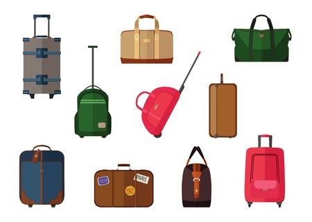 Illustration pour Different types of baggage carry-on luggage, bags, suitcases isolated. Set of vector travel baggage icons - image libre de droit