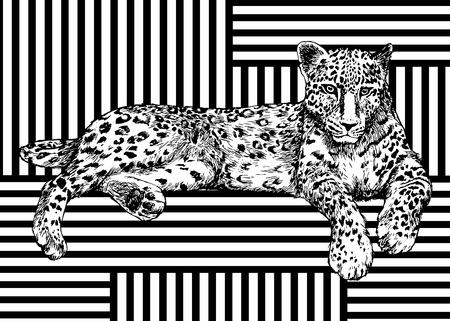 Ilustración de Trendy summer pattern with leopard. Geometric striped ornament tropical animals. Vector tropic predator background. - Imagen libre de derechos