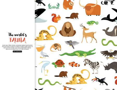 Ilustración de The worlds fauna wild animals. - Imagen libre de derechos