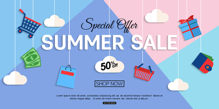 Ilustración de Sale Discount background for the online store, shop, promotional leaflet, promotion, poster, banner. Vector eps 10 format. - Imagen libre de derechos