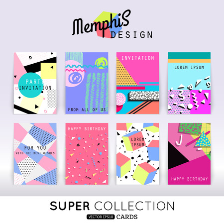 Foto de Set of memphis card template. Abstract geometric shapes pattern in the style of Memphis design. - Imagen libre de derechos