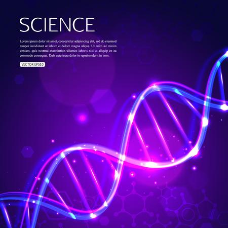 Illustration pour Glowing DNA on purple background biotechnology and medicine. - image libre de droit