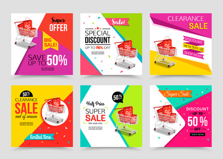 Illustration pour Collection of modern sale banner template. Vector illustrations for marketing, online shopping, mobile banner, advertising poster, ads, mailings and seasonal sales. - image libre de droit