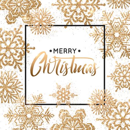 Ilustración de Elegant Christmas background with gold snowflakes for greeting card, holiday design. - Imagen libre de derechos