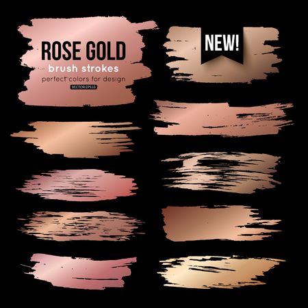 Grunge gold ink brush strokes vector collection