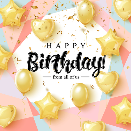 Ilustración de Happy Birthday celebration typography design for greeting card, poster or banner with realistic golden balloons and falling confetti. - Imagen libre de derechos