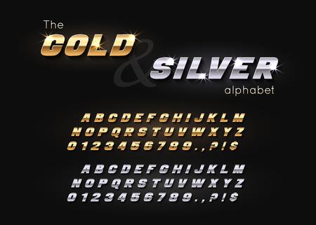Illustration pour Vector Gold and Silver Font and Alphabet. - image libre de droit