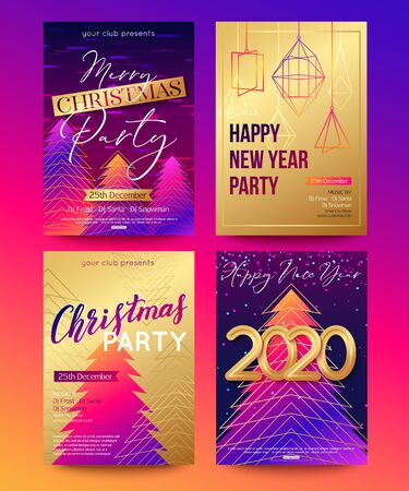 Illustration pour Posters set for 2020 New Year and Christmas holiday design. Vector illustration - image libre de droit