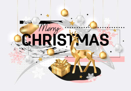 Illustration pour Merry Christmas and Happy New Year background. 2020 greeting card. Collage design. Holiday vector illustration with gold deer, gift box, snowflakes, stars and hanging balls. - image libre de droit
