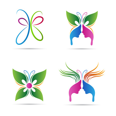Abstract butterfly vector design represents salon, spa, beauty and fashion signs.