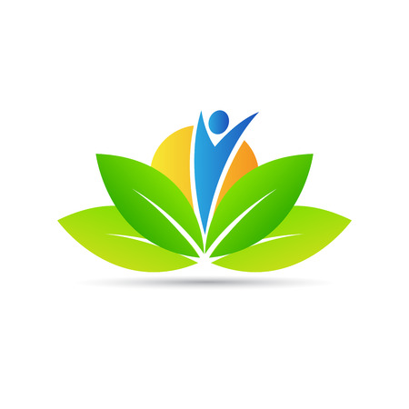Wellness logo vector design represents health care, peacefulness and power.