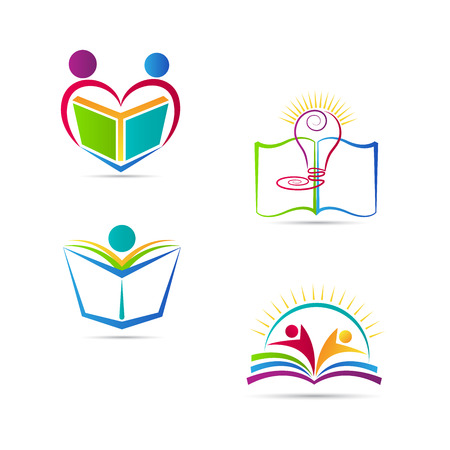 Education book logo vector design represents school, university and education emblem.
