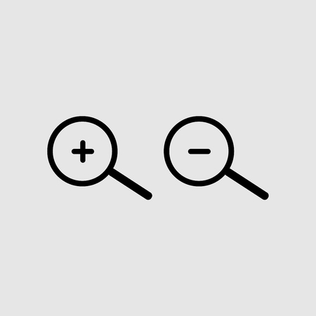 Zoom in and Zoom out icon vector