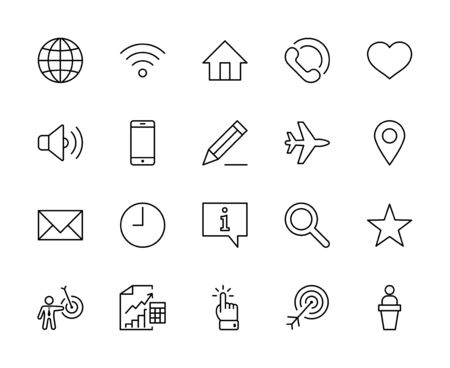 Illustration pour Set of Web Vector Line Icons. Contains such Icons as Globe, Wi-fi, Home, Heart, Phone, Pencil, Time Clock, Star and more. Editable Stroke. 32x32 Pixels - image libre de droit