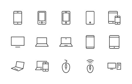 Illustration pour Set of Smart Devices and gadgets, computer equipment and electronics. Electronic devices icons for web and mobile vector line icon. Editable Stroke. 32x32 pixels. - image libre de droit